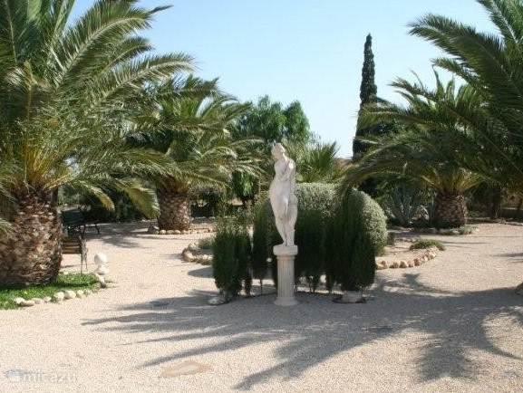 Prachtig ruim aangelegde tuin met palmen en beelden.