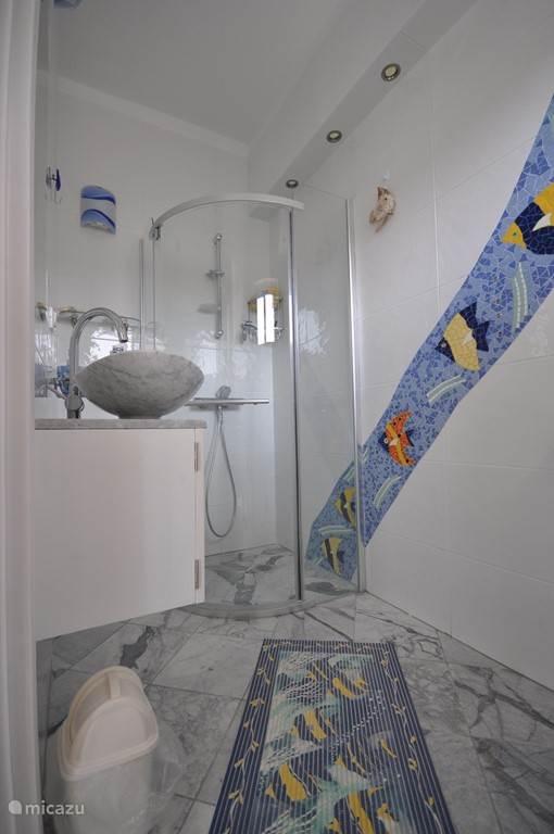 Badkamer Sacha, Toilet, douche en wastafel.