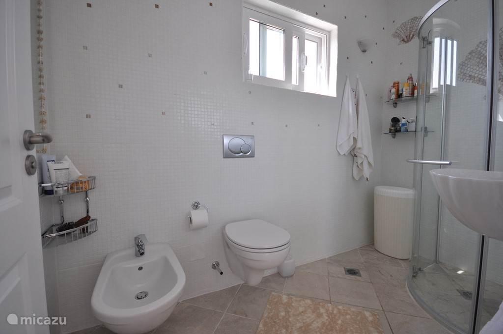 Badkamer Vicka. Toilet, Bidet, Douche en wastafel