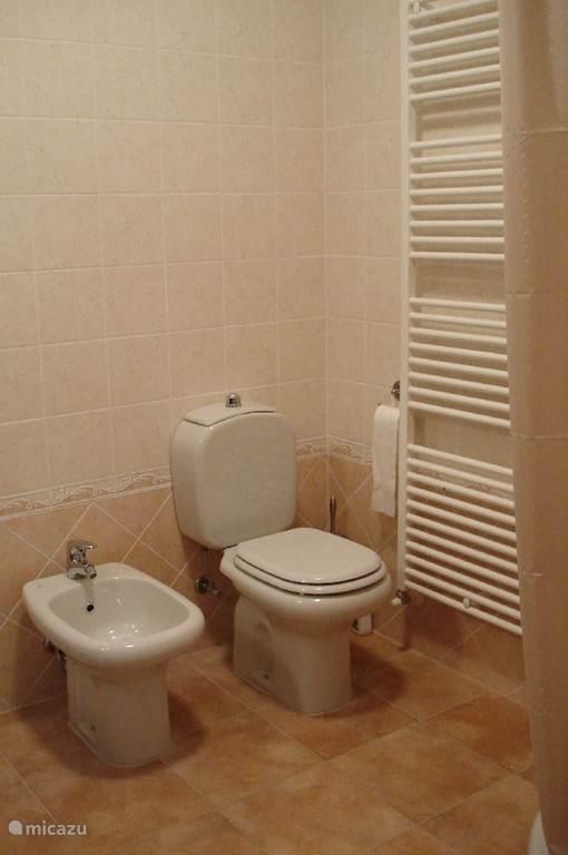 Beide badkamers met douchecabine, wastafel, bidet en toilet