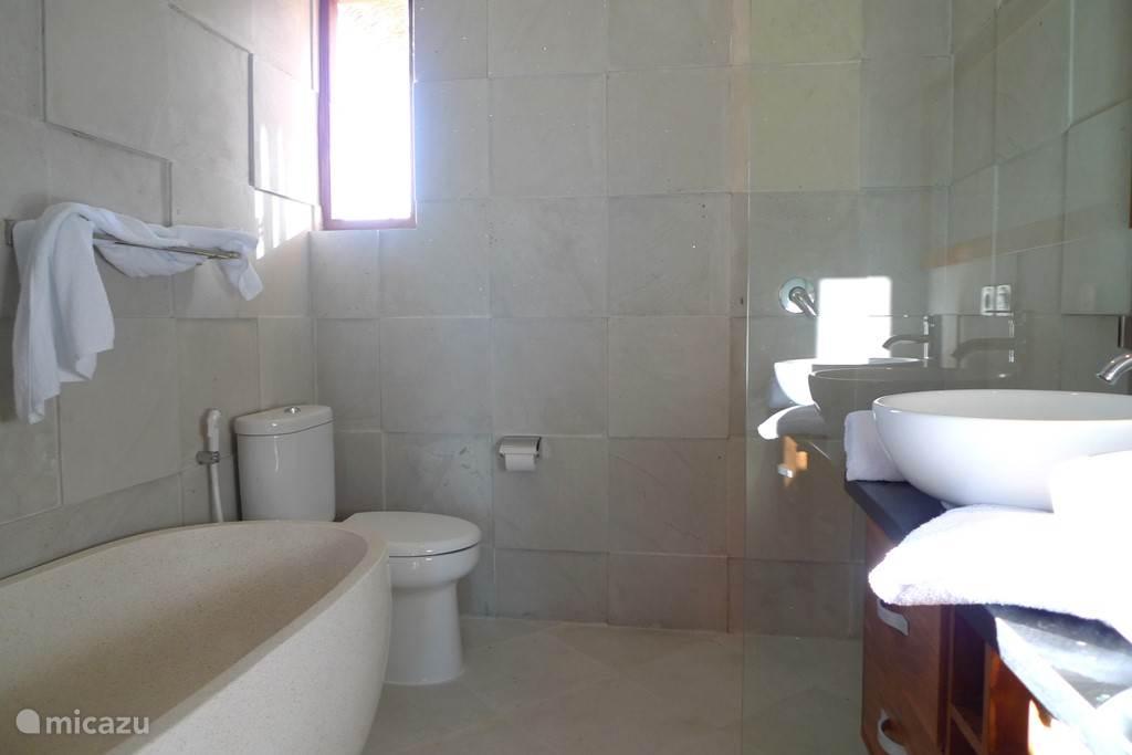 een van de vier badkamers en suite