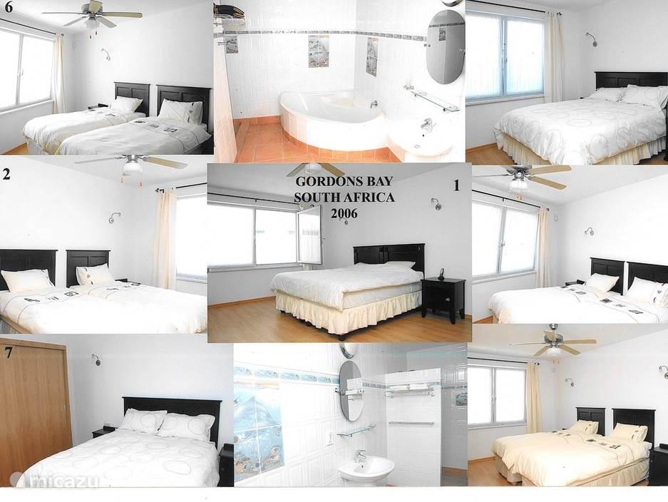 De 7 slaapkamers met ieder een eigen badkamer  bevinden zich in twee aparte vleugels van de villa welke vanuit de woonkamer middels een gang te bereiken zijn. 1 slaapkamer heeft uitzicht op het zwembad en 6 slaapkamers hebben uitzicht op de tuin. Er is ook nog een extra badkamer met ligbad.