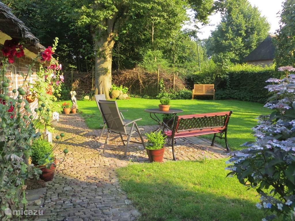 De tuin biedt veel privacy met zon en schaduw. Op de achtergrond staat de Lindeboom.