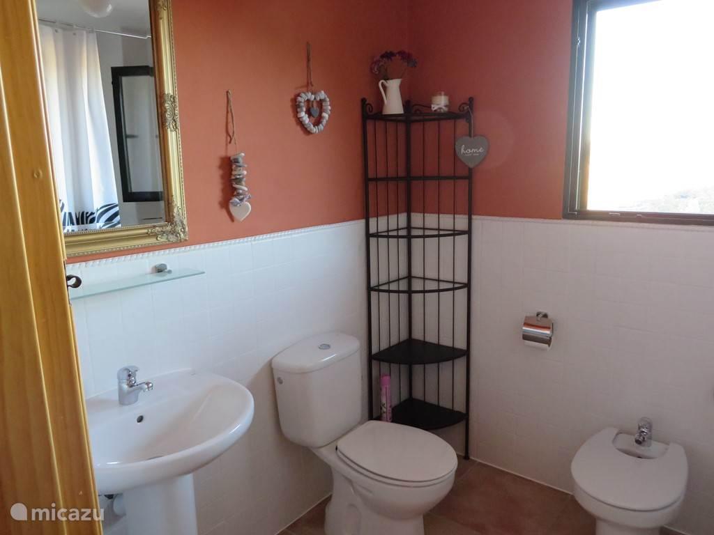 Badkamer met ligbad , douche, toilet , wastafel en bidet.