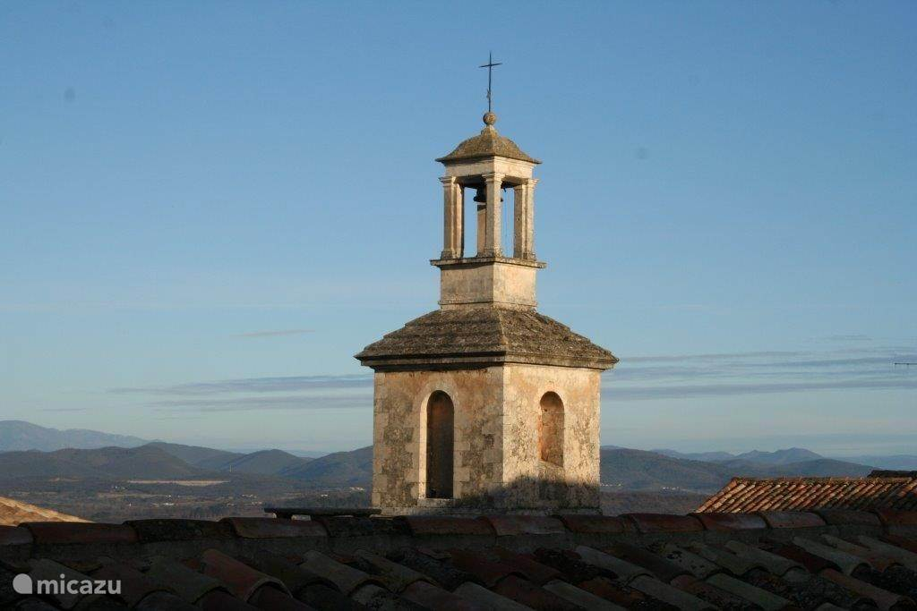 View from the living room. The bell tower, behind the Cevennes.