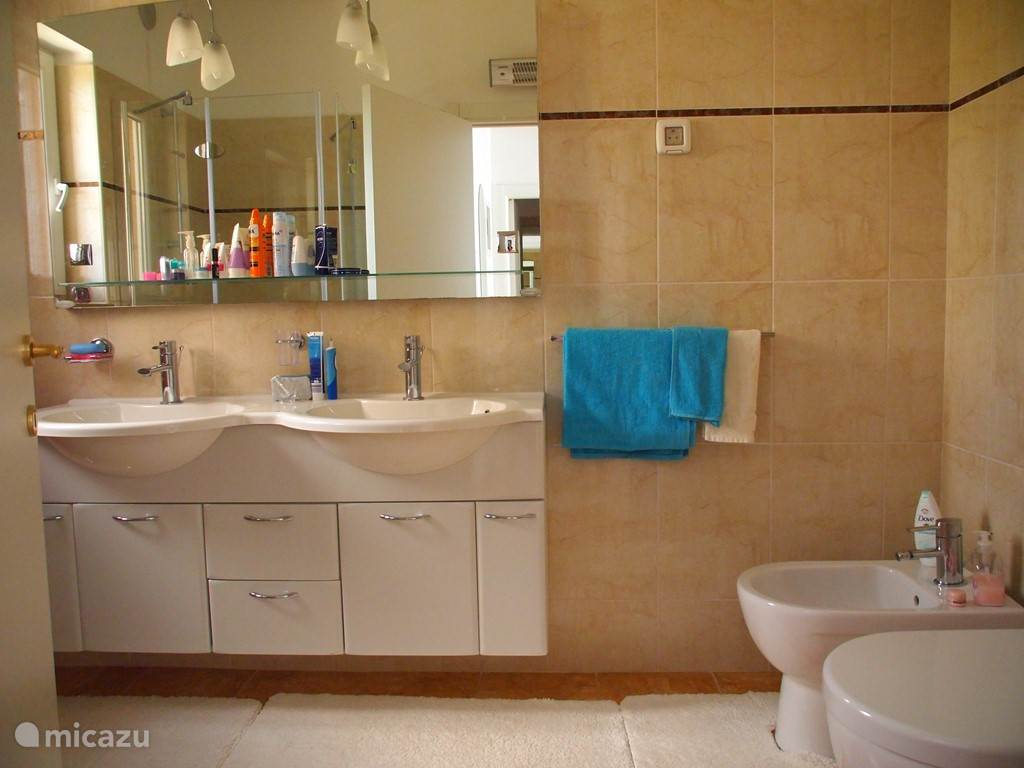 Luxurious bathroom with heated floor, shower, bidet and wc.