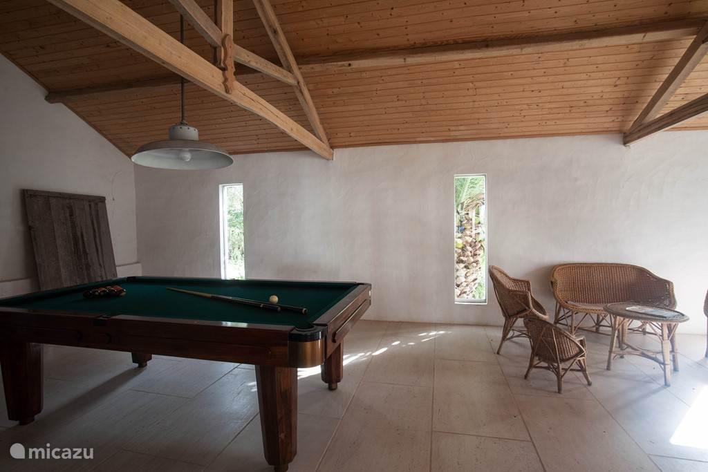 Een grote speelruimte met een biljarttafel, een tafeltennistafel en darts
