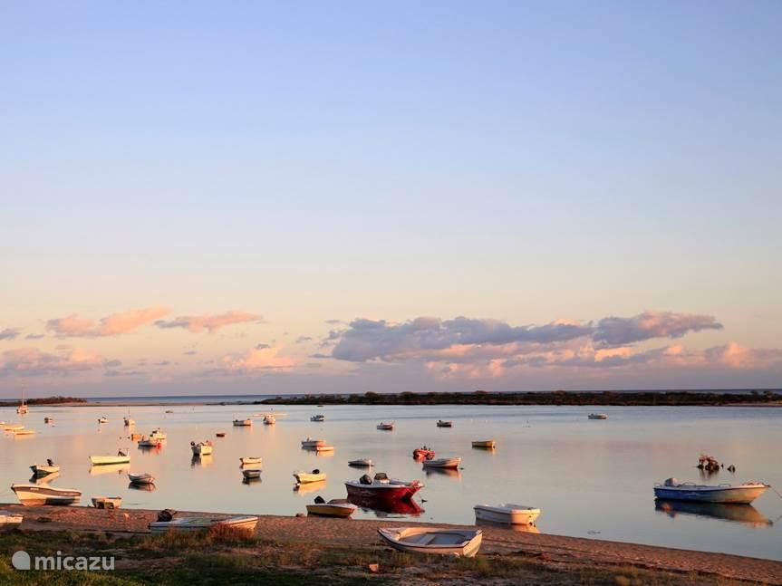 Vissersbootjes voor anker bij Fabrica/Cacela Velha in de oostelijke Algarve