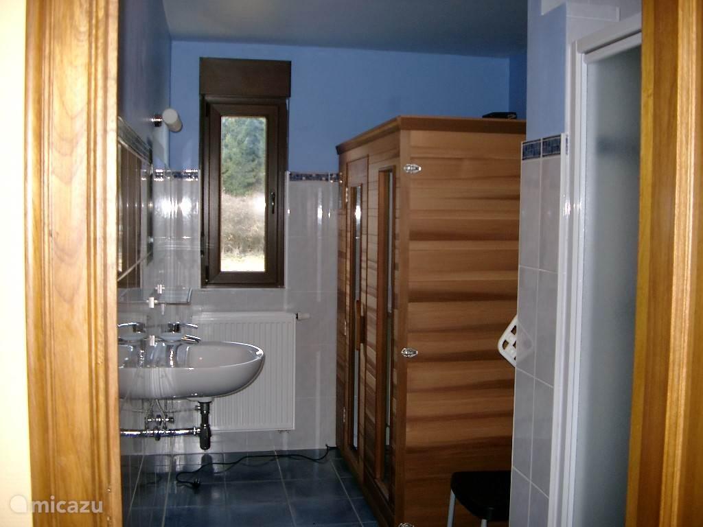 Badkamer gelijkvloers met infrarood cabine 3 personen,  lavabo en douche.