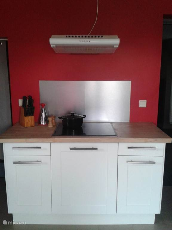Volledig uitgeruste keuken met frigo, combi-oven, afwasmachine, mixer, fruitpers... Er is ook een wasmachine en droogkast aanwezig.