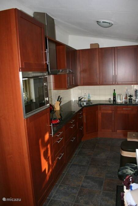 De keuken, met magnetron, inductiekookplaat, koelkast en vaatwasser.