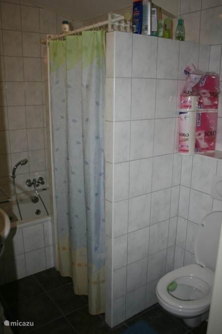 De badkamer heeft toilet, douche en zitbad.