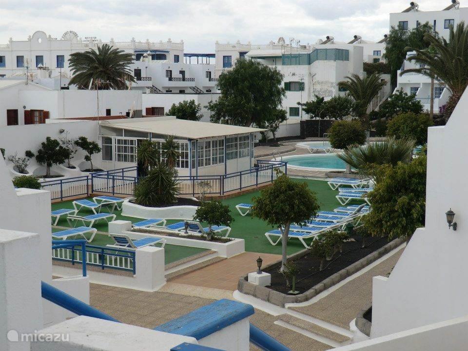 Het gemeenschappelijke zwembad met ligstoelen waar het heerlijk toeven is.