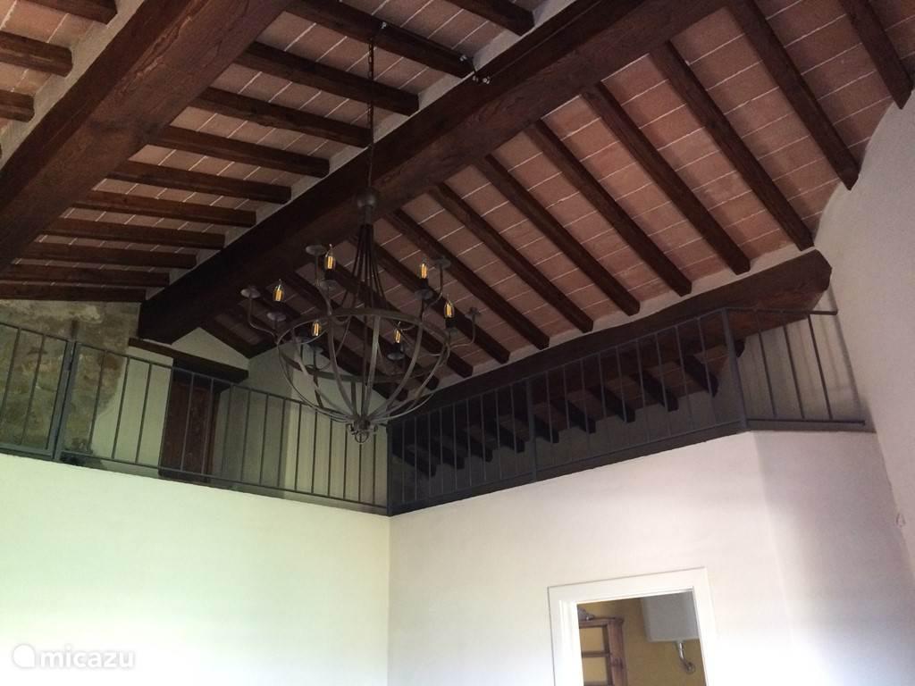 Typisch Toscaans plafond.