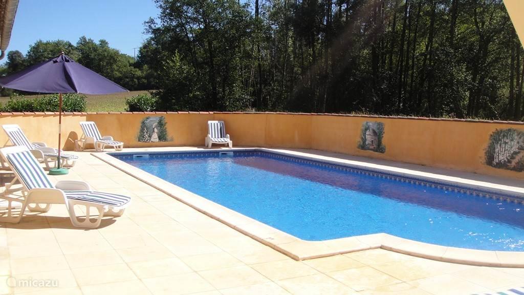 Zwembad gelegen aan de zuidkant van het huis.