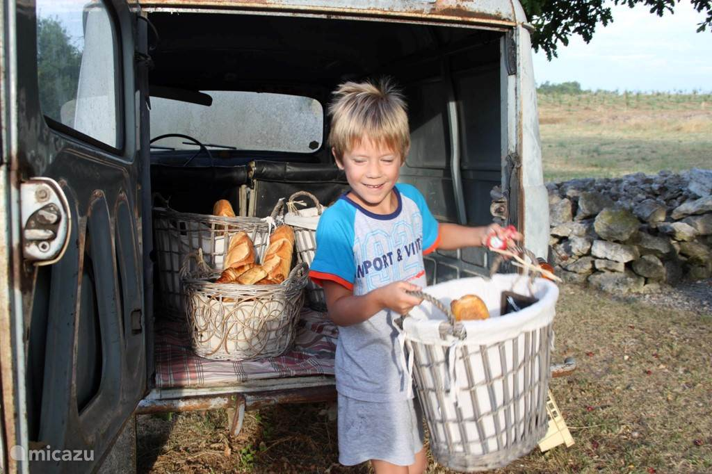 Breakfast service in July and August in the Voiture à pain a basket of fresh bread every morning!
