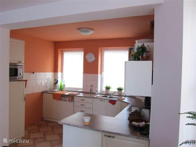 De keuken met vaatwasser, oven, magnatron, koelkast