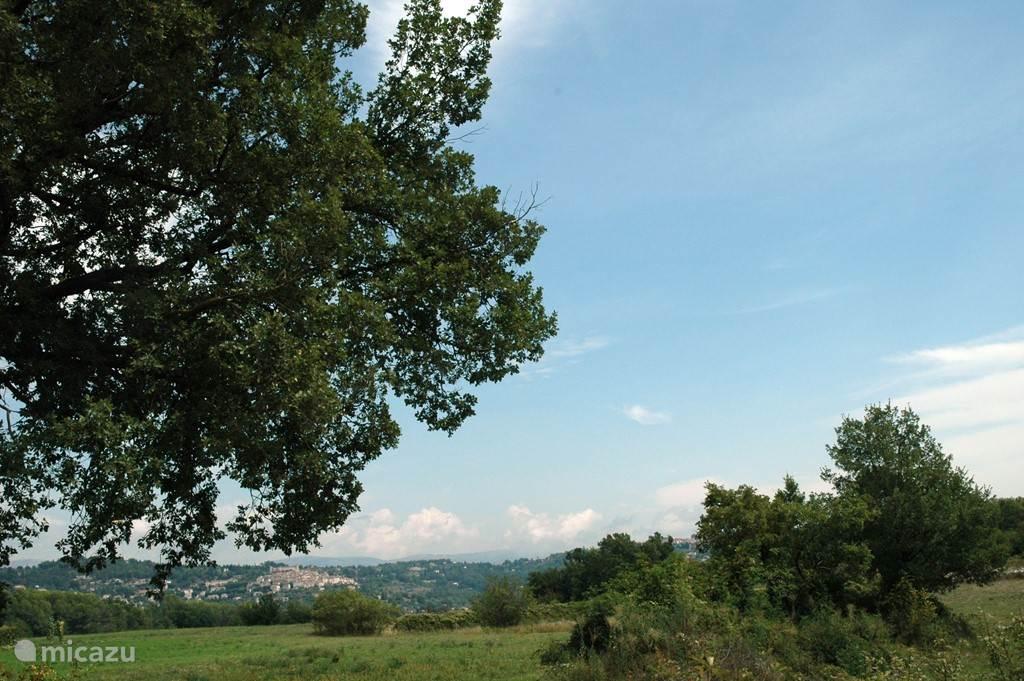 Het uitzicht op het dorp Callian vanuit onze terras