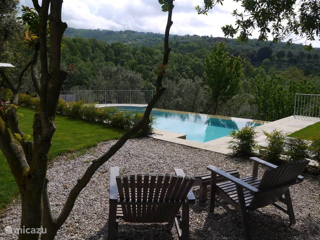 Uitzicht over zwembad en olijfgaard/vallei