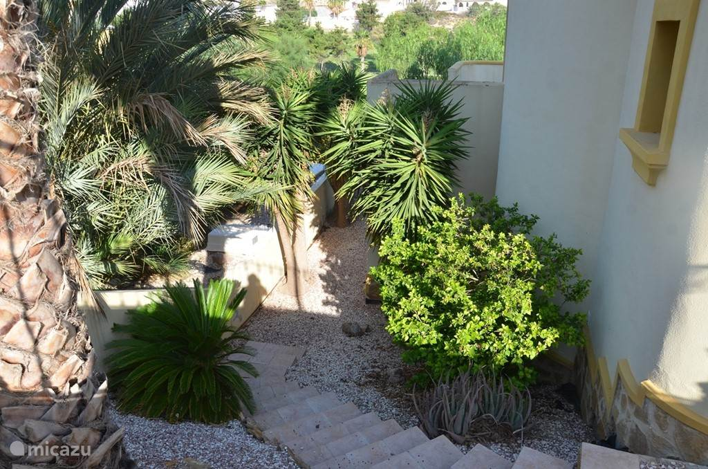 Tuin met trap aan de zijkant van de woning.