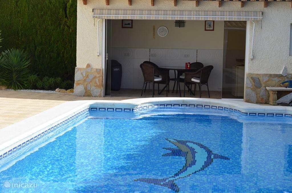 Het grote (10x4m) verwarmbare zwembad met de buitenkeuken en overdekte buitendouche en toilet,