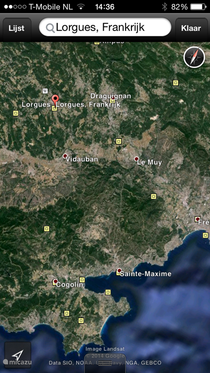 Afbeelding Google Earth van Lorgues en omgeving.