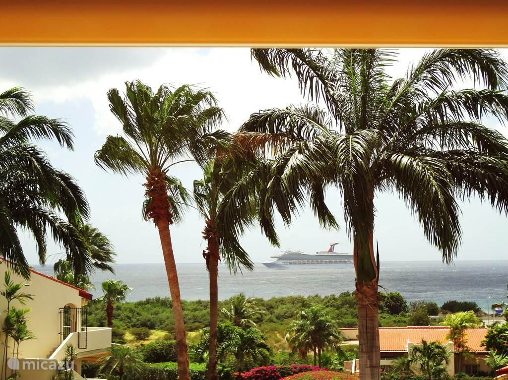 VIEW TO BALCONY. Captivating views of the sea, where the cruise ships and with some luck ALSO GET PAST THE DOLPHINS !!.