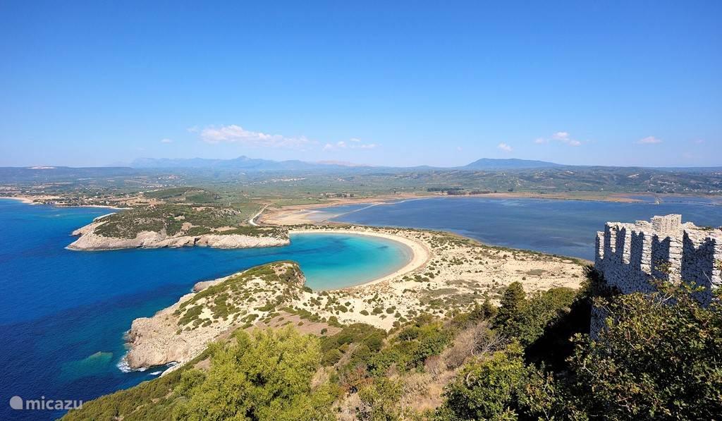 Het beroemde Voidokilia strand: vlakbij ons huis