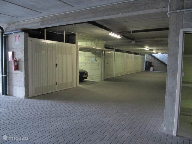 garage in the basement of the building