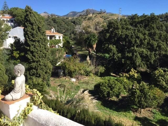 Zicht van boven terras op tuin