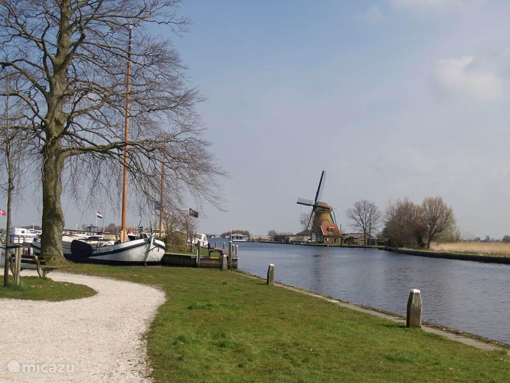 Op driehonderd meter ligt het Park Groot Leerust, aan het water, met een oude theekoepel. Een heerlijke plek.