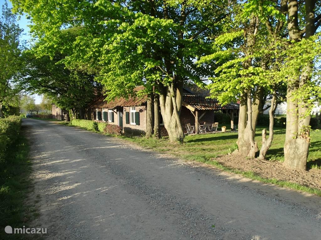 Voorzijde  vakantiehuisje en toegang tot de tuin en achterzijde