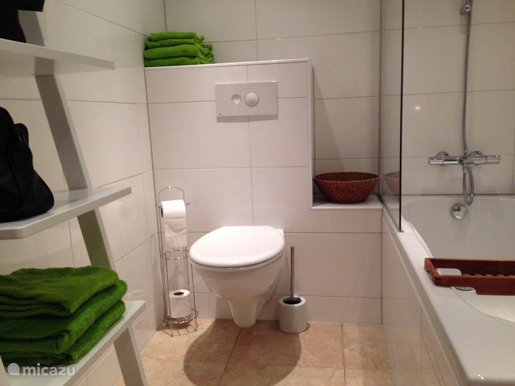 De badkamer is voorzien van een wastafel, douche/ligbad en toilet.
