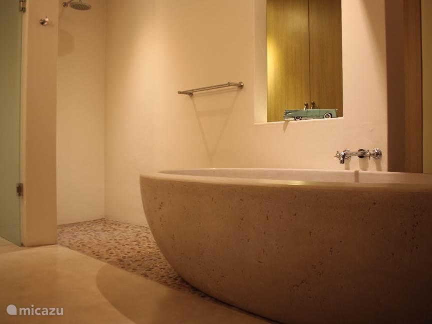 Master badkamer met vrijstaand ligbad en grote inloop douche