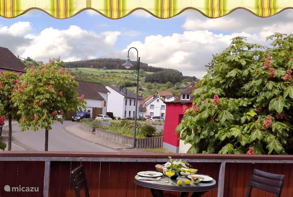 uitzicht vanaf het dakterras op het dorp en het landschap