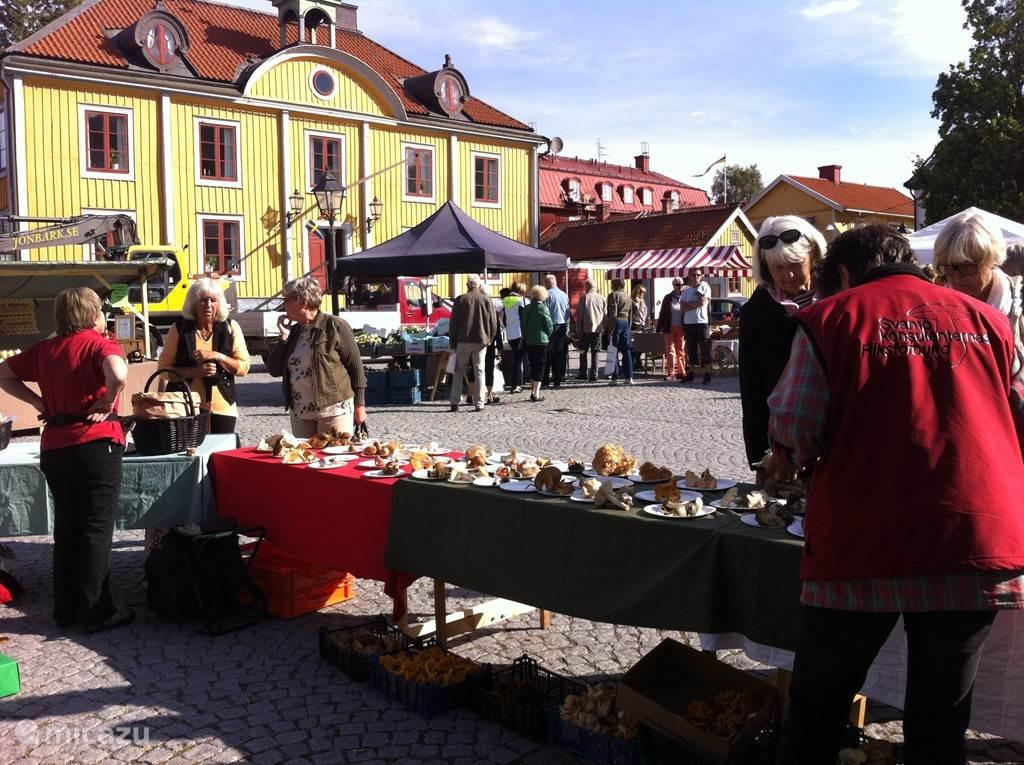 Locale markt in juli in Mariefred