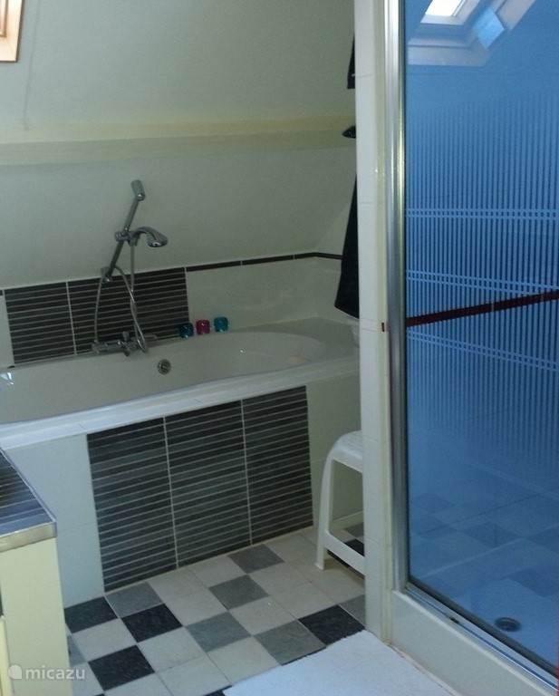 Badkamer met bad, douche en 2e toilet.