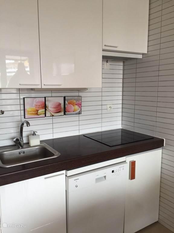 Het keukenblok is voorzien van halogeen kookplaat, koelkast en vaatwasser.