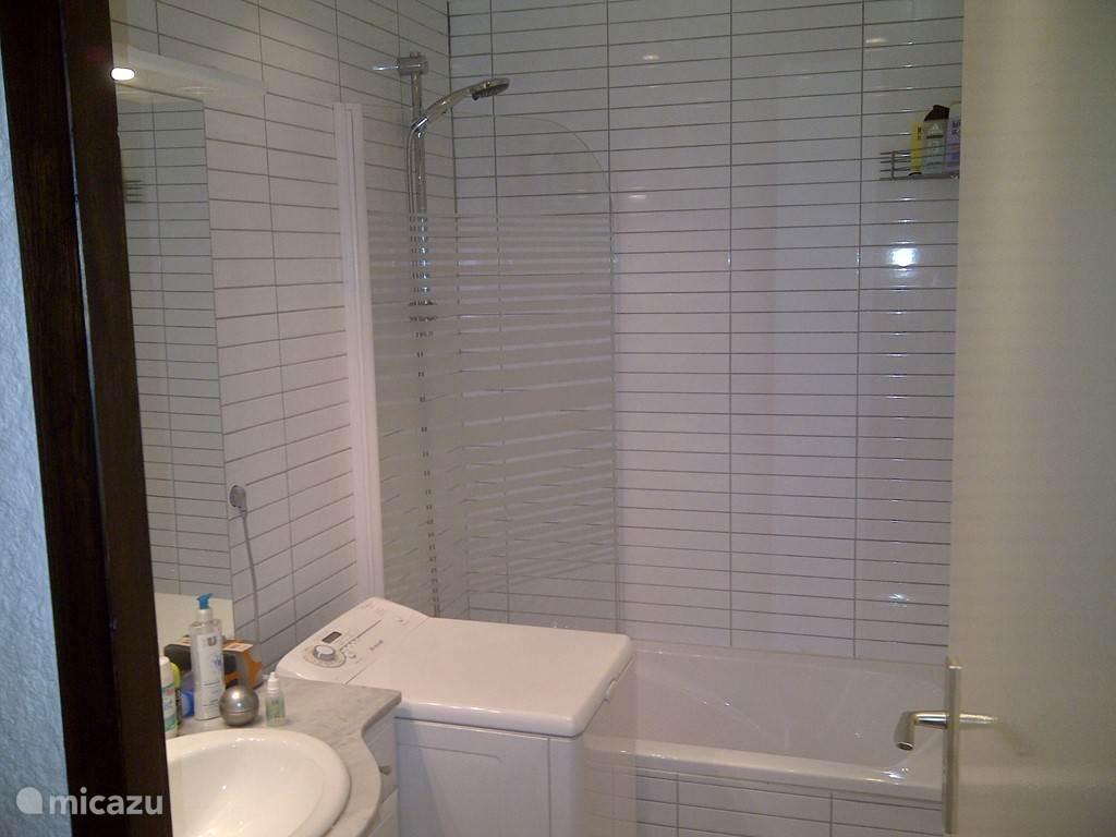Frisse badkamer incl, wastafel, wasmachine en bad. Toilet separaat.