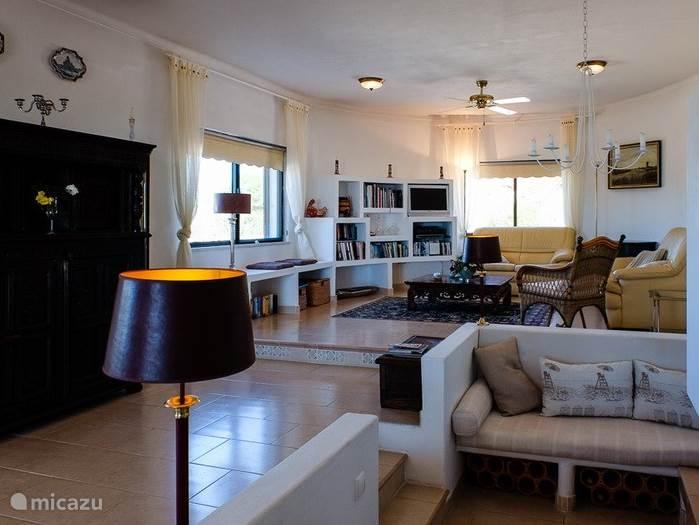 Grote gezellige woonkamer met verlaagde zithoek en openhaard.