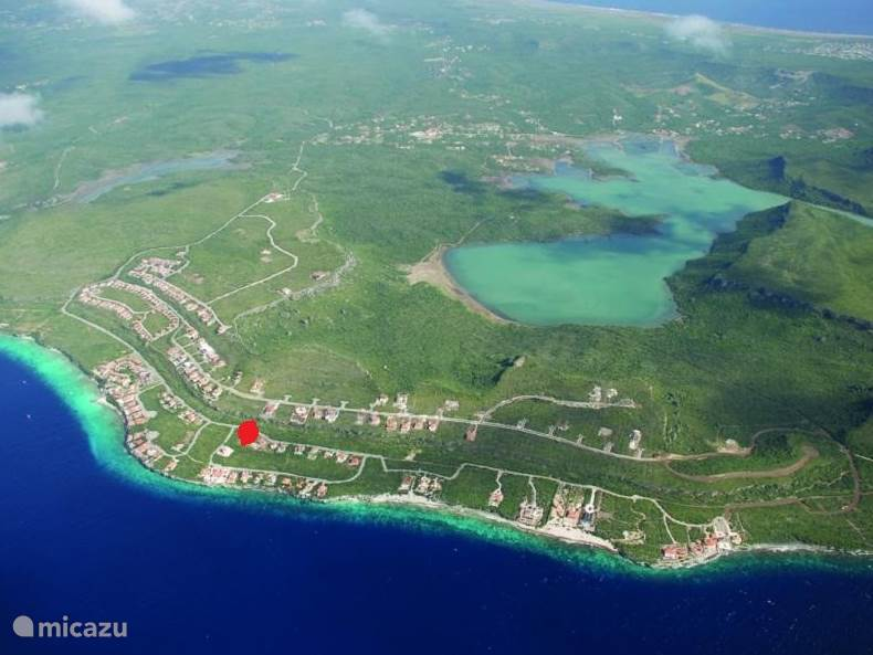 Coral Estate, the red dot is the location of Villa Curacao