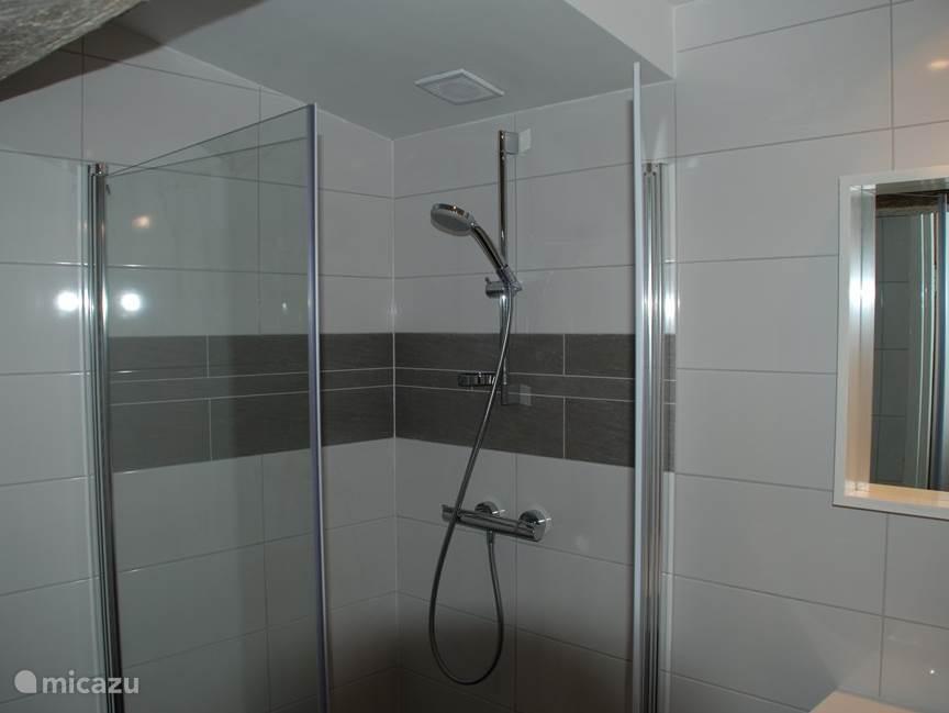 Fijne douche met goede straal en douchedeuren.