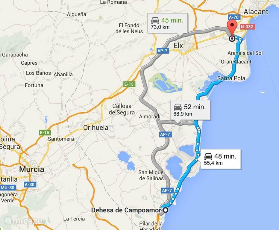 De route vanaf de luchthaven Alicante