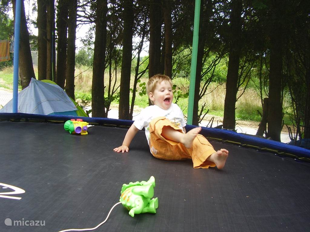 Trampoline with safety net.