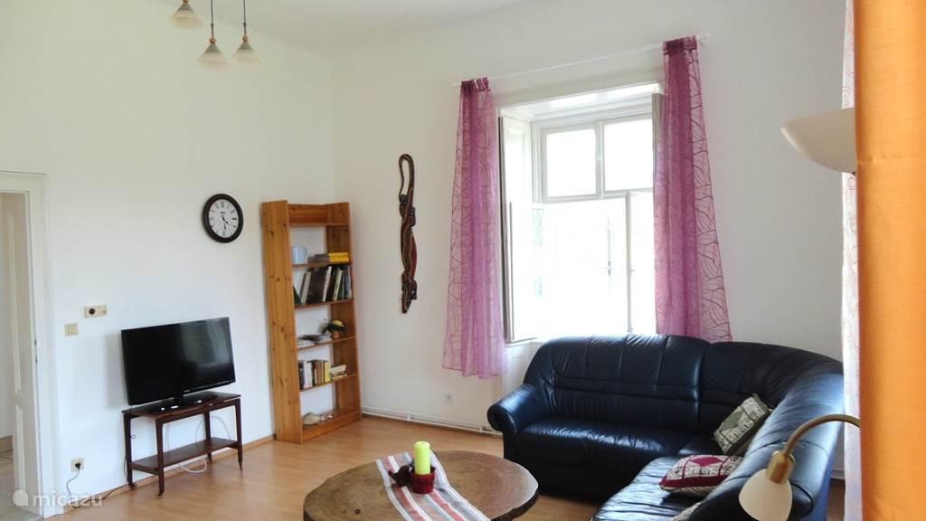 Grote woonkamer met authentieke raamvensters en tuinzicht in Top 10