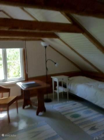 Slaapkamer boven met twee single bedden.