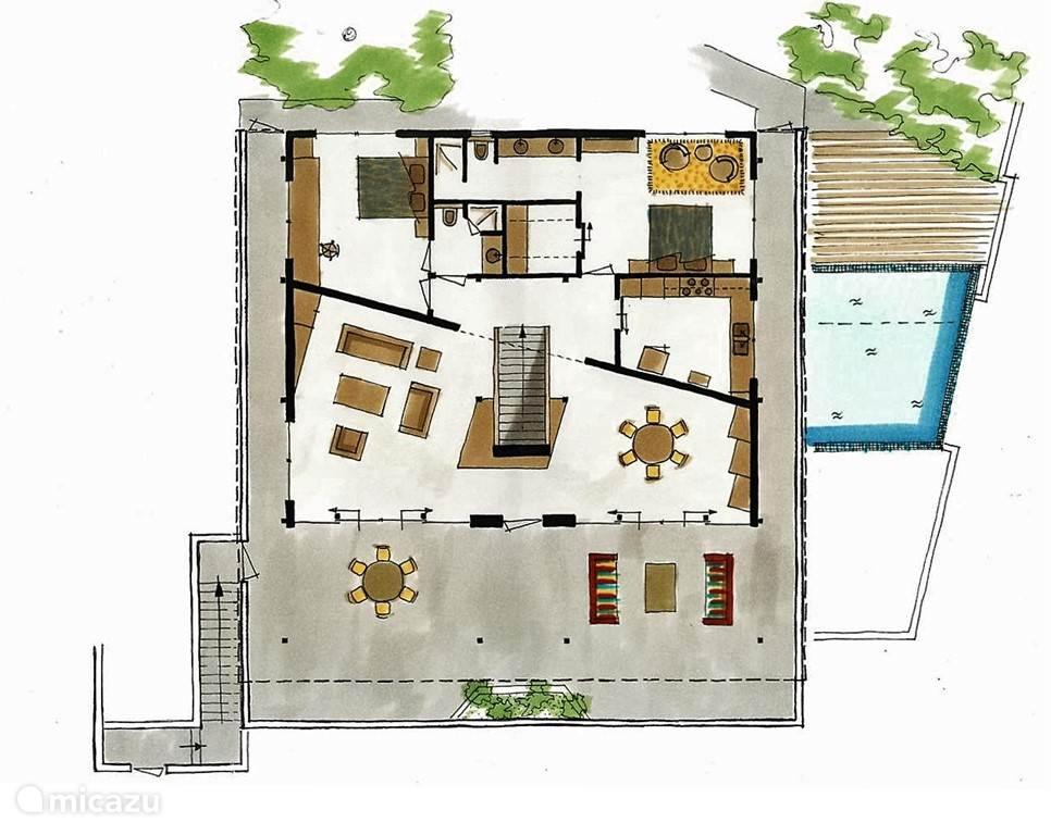 De woonverdieping, met terras, woonkamer, eetkamer, keuken, slaapkamer 1 en 2,  2 badkamers en het zwembad