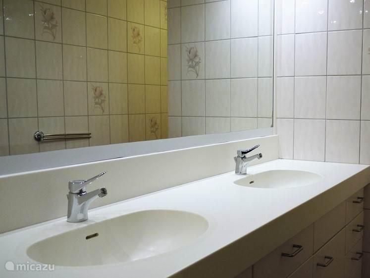 De 4 badkamers zijn voorzien van een dubbele wastafel, douche en toilet.