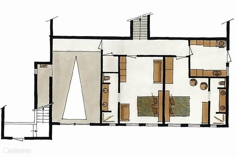 De benedenverdieping met de slaapkamers 3 en 4, 2 badkamers, de wasruimte en garage.