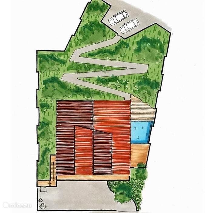 Het bovenaanzicht van de woning, met tuin, oprit, parkeerplaatsen en zwembad.